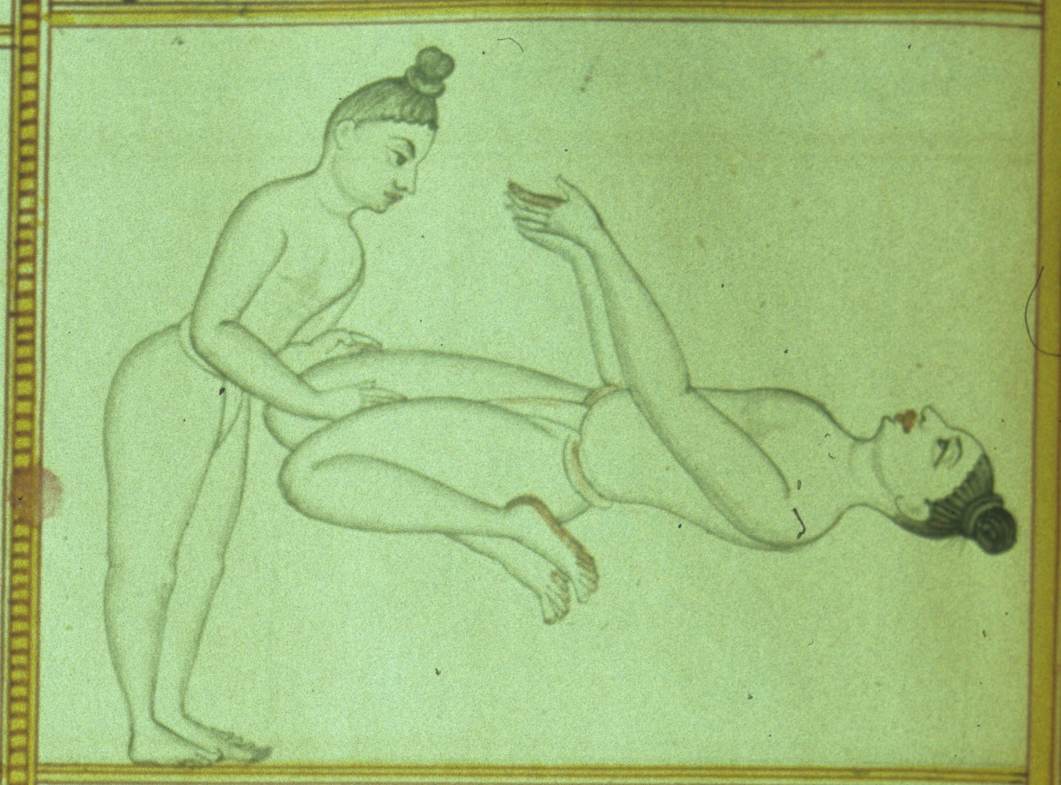 Śrītattvanidhi (Detail from plate 15: Āsana no. 86, Viratāsana) Published by Sjoman, Norman (1996). Yoga Traditions of the Mysore Palace, plate 15 (detail).
