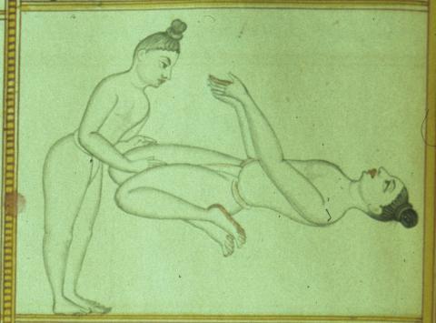 Śrītattvanidhi (Detail from plate 15: Āsana no. 86, Viratāsana) Published by Sjoman, Norman (1996). Yoga Traditions of the Mysore Palace, plate 15 (detail).