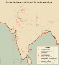 Map of Rasaratnakara mss in India created by Keith Cantú for AyurYog