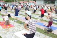 An estimated 500 people from the Seychelles participated in an open-air yoga session to celebrate the first International Day of Yoga.